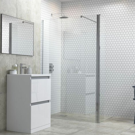 Signature Inca6 Wet Room Screen with Return Panel and Support Bar 1200mm Wide - 6mm Glass