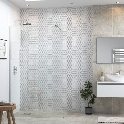 Signature Inca6 Wet Room Screen with Support Bar 900mm Wide - 6mm Glass