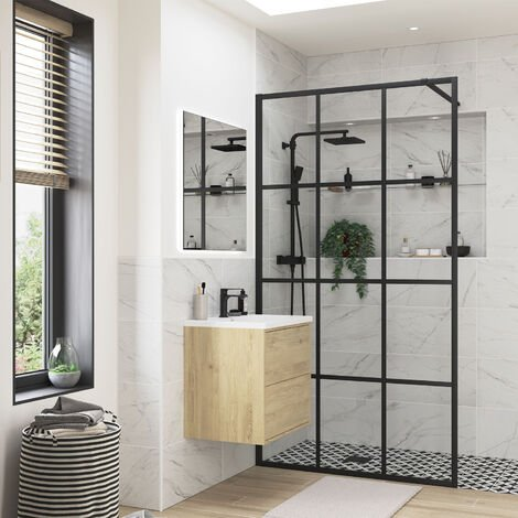 """main image of """"Signature Inca8 Black Framed Wet Room Screen 1200mm Wide - 8mm Glass"""""""