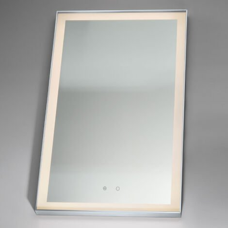 Signature LED Bathroom Mirror with Demister Pad 800mm H x 600mm W - Chrome