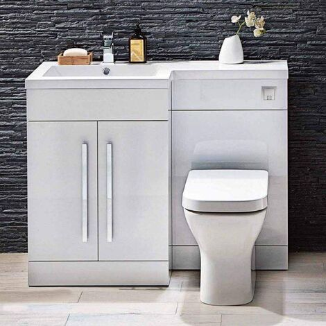 Signature Lili Bathroom Furniture Pack with Basin and Toilet 1100mm Wide Gloss White - LH