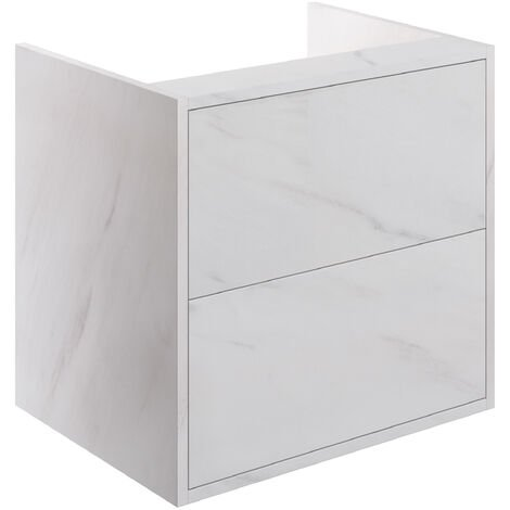 Signature Lund Wall Hung 2-Drawer Vanity Unit 600mm Wide - Marble Finish