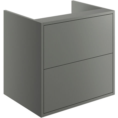Signature Lund Wall Hung 2-Drawer Vanity Unit 600mm Wide - Matt Grey