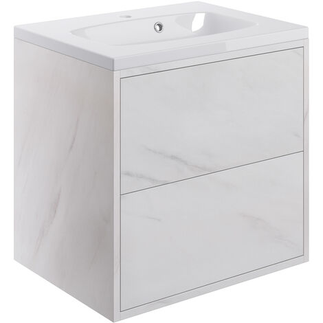 Signature Lund Wall Hung 2-Drawer Vanity Unit with Basin 600mm Wide - Marble