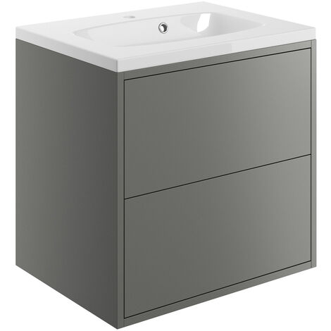 Signature Lund Wall Hung 2-Drawer Vanity Unit with Basin 600mm Wide - Matt Grey
