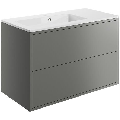 Signature Lund Wall Hung 2-Drawer Vanity Unit with Basin 900mm Wide - Matt Grey