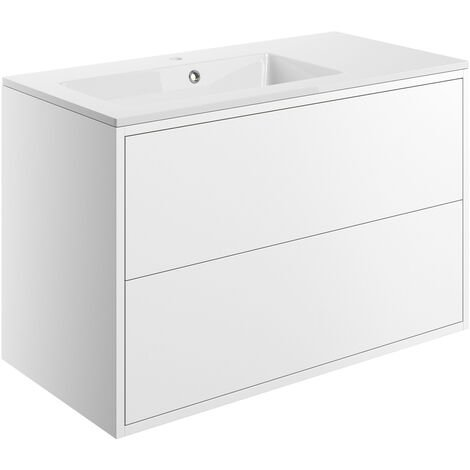 Signature Lund Wall Hung 2-Drawer Vanity Unit with Basin 900mm Wide - Matt White