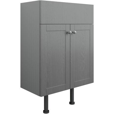 Signature Malmo Floor Standing 2-Door Vanity Unit 600mm Wide - Grey Ash
