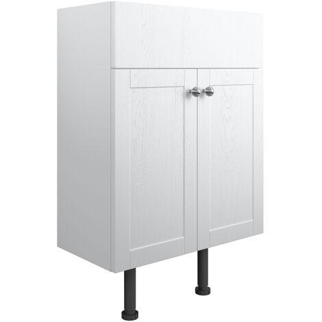 Signature Malmo Floor Standing 2-Door Vanity Unit 600mm Wide - Satin White Ash