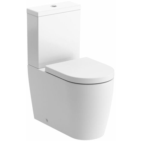 Signature Nazca Close Coupled Back To Wall Rimless Toilet with Push Button Cistern - Soft Close Seat