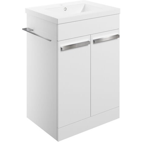Signature Odense Floor Standing 2-Door Vanity Unit with Basin 615mm Wide - White Gloss