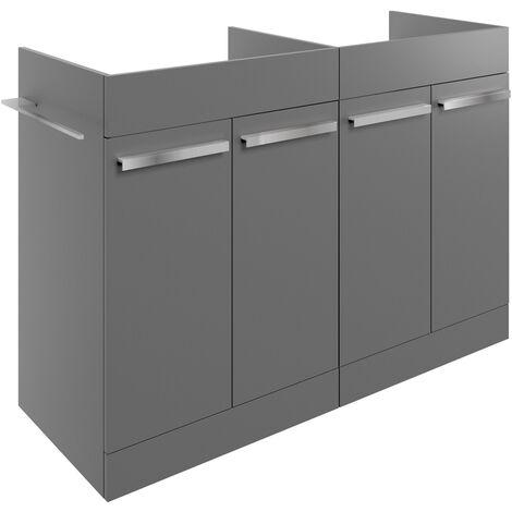 Signature Odense Floor Standing 4-Door Vanity Unit 1200mm Wide - Matt Urban Grey