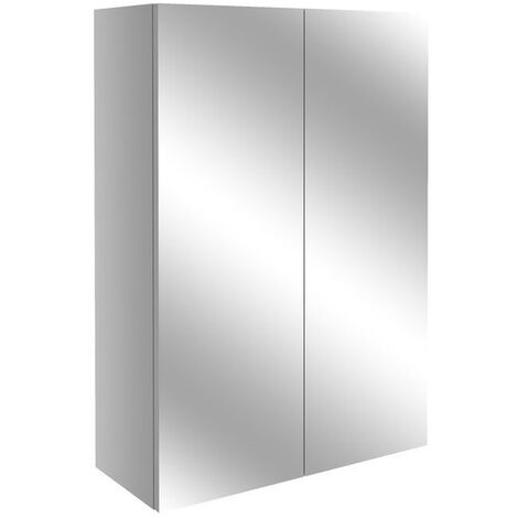 Signature Oslo 2-Door Mirrored Bathroom Cabinet 500mm Wide - Light Grey Gloss