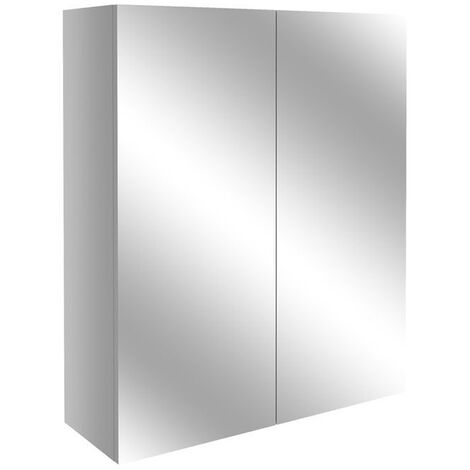 Signature Oslo 2-Door Mirrored Bathroom Cabinet 600mm Wide - Light Grey Gloss