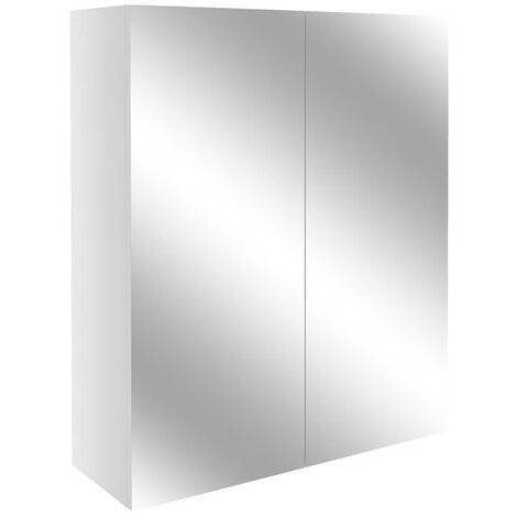 Signature Oslo 2-Door Mirrored Bathroom Cabinet 600mm Wide - White Gloss