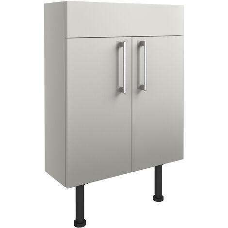 Signature Oslo Floor Standing 2-Door Slim Vanity Unit 600mm Wide - Light Grey Gloss