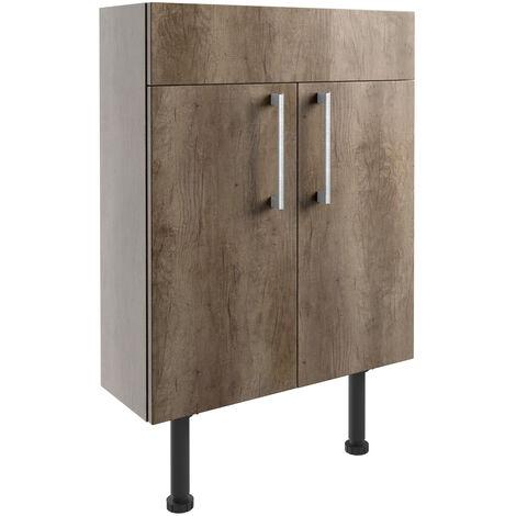 Signature Oslo Floor Standing 2-Door Slim Vanity Unit 600mm Wide - Nebraska Oak