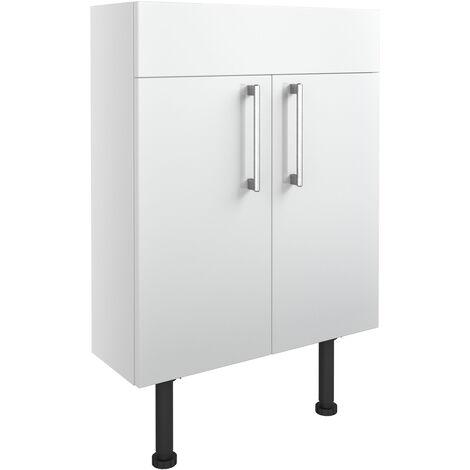 Signature Oslo Floor Standing 2-Door Slim Vanity Unit 600mm Wide - White Gloss