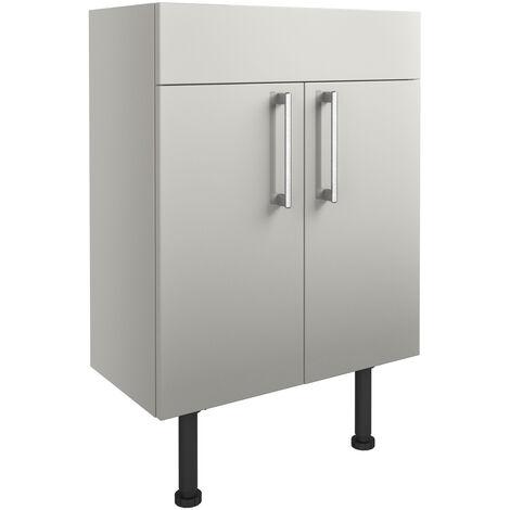 Signature Oslo Floor Standing 2-Door Vanity Unit 600mm Wide - Light Grey Gloss
