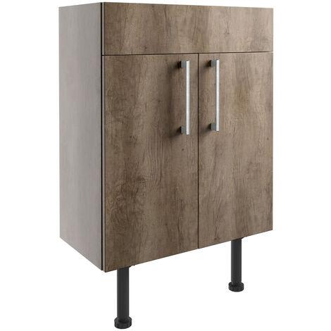 Signature Oslo Floor Standing 2-Door Vanity Unit 600mm Wide - Nebraska Oak