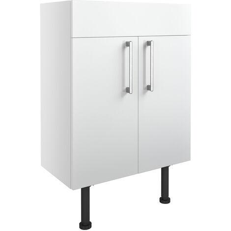 Signature Oslo Floor Standing 2-Door Vanity Unit 600mm Wide - White Gloss