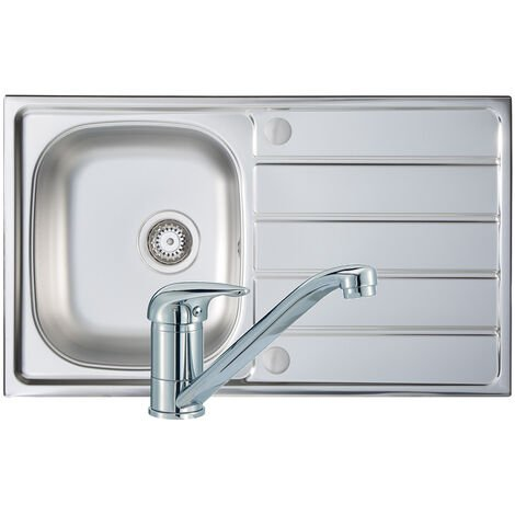 Signature Prima 1.0 Bowl Kitchen Sink with Sink Tap and Waste Kit 860mm L x 500mm W - Stainless Steel