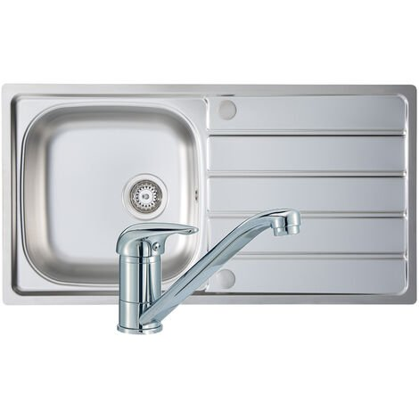 Signature Prima 1.0 Bowl Kitchen Sink with Sink Tap and Waste Kit 965mm L x 500mm W - Stainless Steel