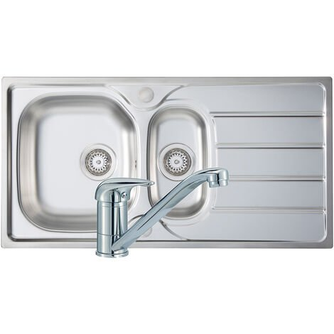 Signature Prima 1.5 Bowl Kitchen Sink with Sink Tap and Waste Kit 965mm L x 500mm W - Stainless Steel