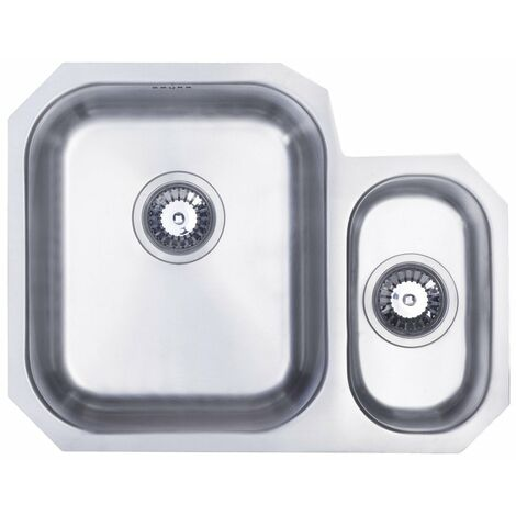 Signature Prima 1.5 Bowl Undermount Kitchen Sink LH with Waste Kit 594mm L x 460mm W - Stainless Steel