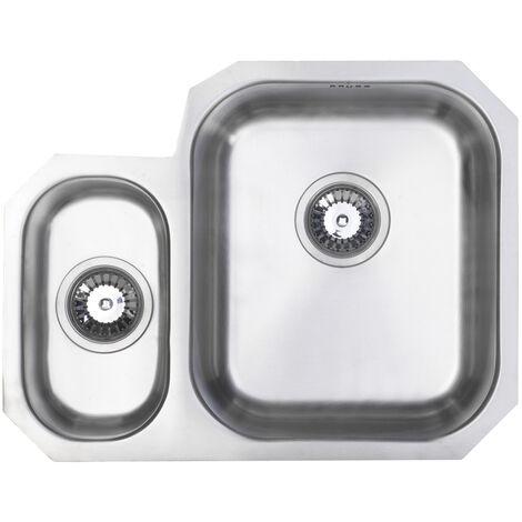 Signature Prima 1.5 Bowl Undermount Kitchen Sink RH with Waste Kit 594mm L x 460mm W - Stainless Steel