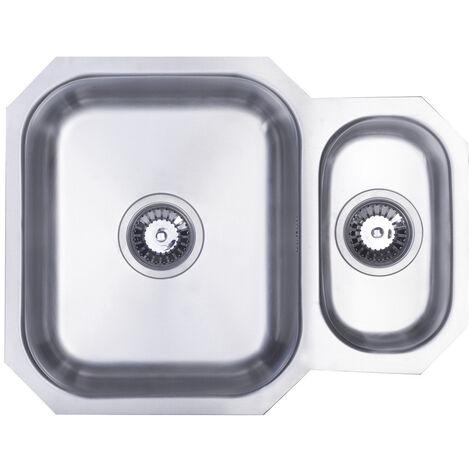 Signature Prima 1.5 Bowl Undermount Kitchen Sink with Waste Kit 595 L x 460 W - Stainless Steel