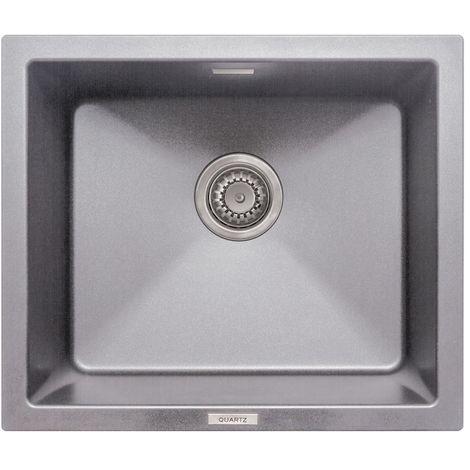 Signature Prima Granite Composite 1.0 Bowl Undermount Kitchen Sink with Waste Kit 533 L x 457 W - Light Grey