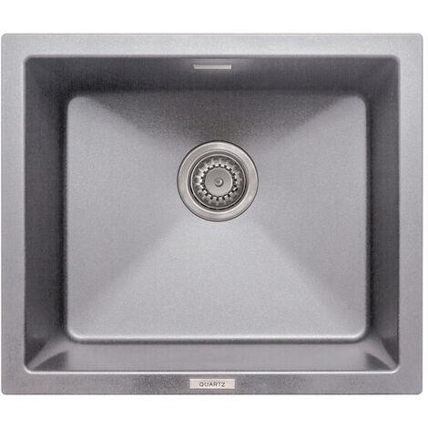 Signature Prima Granite Composite 1.0 Bowl Undermount Kitchen Sink with Waste Kit 533mm L x 457mm W - Light Grey