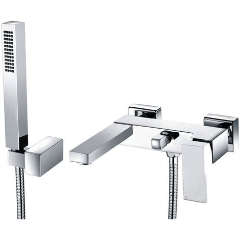 Signature Quadro Wall Mounted Bath Shower Mixer Tap with Shower Kit and Bracket - Chrome