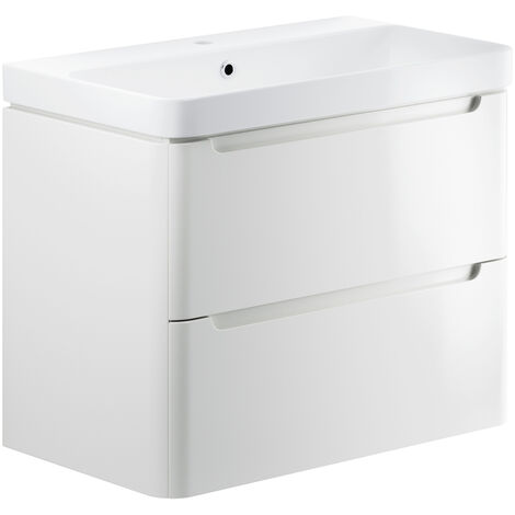 Signature Randers Wall Hung 2-Drawer Vanity Unit with Basin 800mm Wide - White Gloss