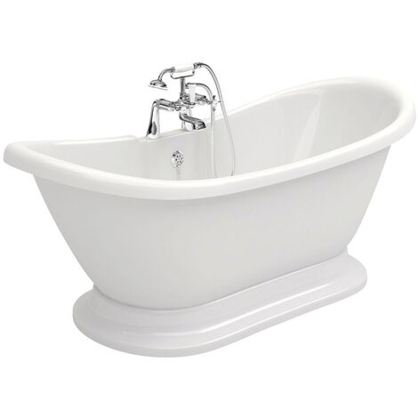 Signature Roll Top Back to Wall Freestanding Bath 1700mm x 720mm - 2 Tap Hole