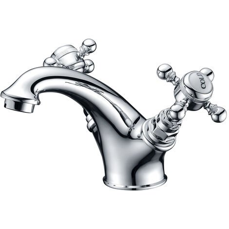 Signature Roma Basin Mixer Tap Dual Handle with Click Clack Waste - Chrome