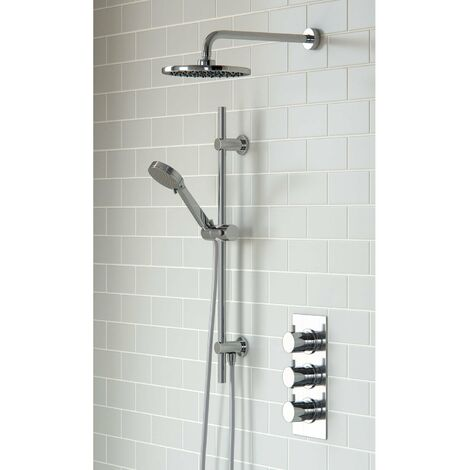 Signature Round Triple Concealed Mixer Shower with Shower Kit + Fixed Head - Chrome