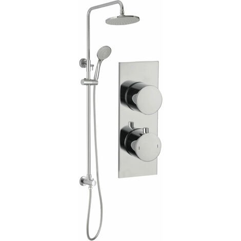 Signature Round Twin Concealed Mixer Shower with Handset and Fixed Head - Chrome