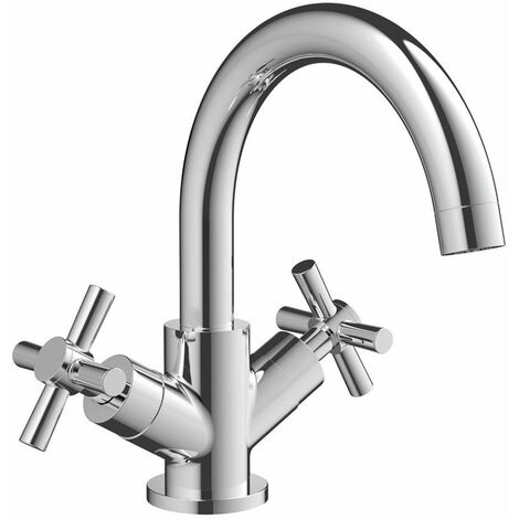 Signature Siena Basin Mixer Tap Dual Handle with Waste - Chrome