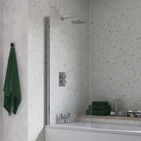 Signature Single Square Bath Screen 1500mm High x 800mm Wide - 6mm Glass