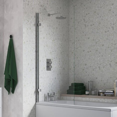 Signature Single Straight Hinged Bath Screen 1500mm High x 850mm Wide - 8mm Glass