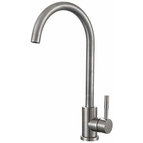 Signature Soho Swan Neck Single Lever Kitchen Sink Mixer Tap - Brushed Steel