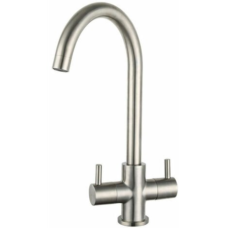 Signature Staten Swan Neck Dual Lever Kitchen Sink Mixer Tap - Brushed Steel