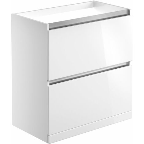 Signature Stockholm Floor Standing 2-Drawer Vanity Unit 815mm Wide - White Gloss