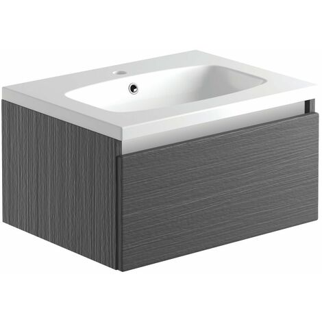 Signature Stockholm Wall Hung 1-Door Vanity Unit with Basin 600mm Wide - Pearl Grey Gloss