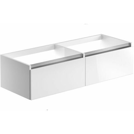 Signature Stockholm Wall Hung 2-Drawer Vanity Unit 1200mm Wide - White Gloss