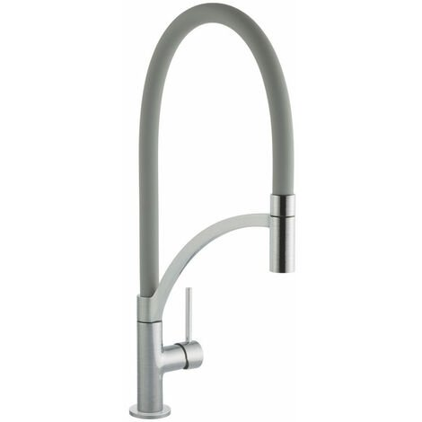 Signature Swan Neck Pull Out Single Lever Kitchen Sink Mixer Tap - Grey