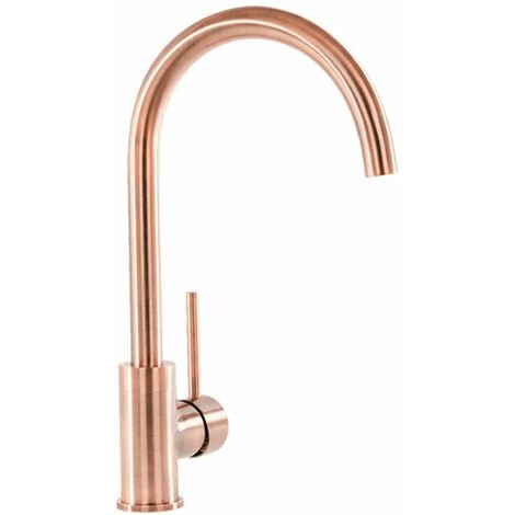 Signature Swan Neck Single Lever Kitchen Sink Mixer Tap - Copper