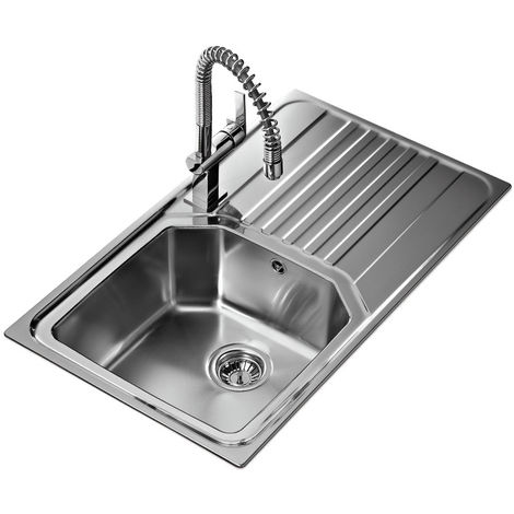 Signature Teka Premium 1.0 Bowl Kitchen Sink with Waste Kit 860mm L x 500mm W - Stainless Steel